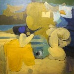 """Blue and Yellow"" by Curtis Fields, 1965, 48"" x 48"", polyvinyl on masonite"