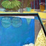 """Corner of Swimming Pool II"" by Curtis Fields, 2003, 30"" x 30"", acrylic on canvas"