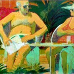 """Couple Sunbathing by Pool"" by Curtis Fields, 1988, 30"" x 23"", acrylic and oil pastel on paper"