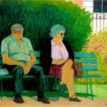 """France Park Bench"" by Curtis Fields, 1991, 30"" x 23"", oil on paper"