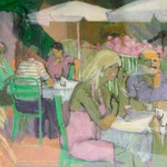 """France - Terrace Restaurant I"" by Curtis Fields, 1991, 16"" x 20"", oil on paper"