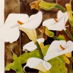 """Lilies"" by Curtis Fields, 1970, 11"" x 14"", watercolor on paper"