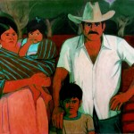 """Mexico - Family II"" by Curtis Fields, 1985, 48"" x 66"", oil on canvas"