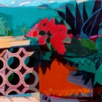 """Mexico - Flowers on Balcony I"" by Curtis Fields, 1972, 16"" x 20"", acrylic on illustration board"