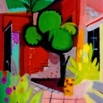 """Mexico - Patio"" by Curtis Fields, 1968, 20"" x 15"", acrylic on illustration board"