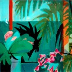 """Mexico - Sea Through Palm Fronds"" by Curtis Fields, 1996, 9"" x 12"", acrylic on paper"