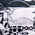 """Mexico - Toward the Bay (Study)"" by Curtis Fields, 1991, 11"" x 23"", acrylic on paper"