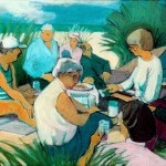 """Picnic II"" by Curtis Fields, 1992, 18"" x 30"", acrylic on canvas on canvas"