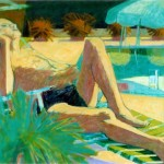 """Sunbathing Man IV"" by Curtis Fields, 1982(?), 48"" x 30"", oil on canvas"