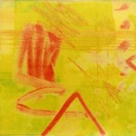 """Viscosity in Chartreuse and Vermillion I"" by Curtis Fields, 1996, 7"" x 7"", monoprint on paper"