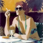 """Woman Late Afternoon"" by Curtis Fields, 1992, 30"" x 22"", acrylic on paper"