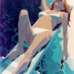 """Woman on Diving Board"" by Curtis Fields, 1982, 30"" x 29"", acrylic on paper"